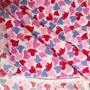 "Hearts Print 100% Cotton Fabric 46"" x 1 yard"